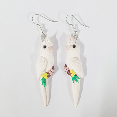 Earrings Cockatiel White