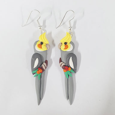 Earrings Cockatiel Grey