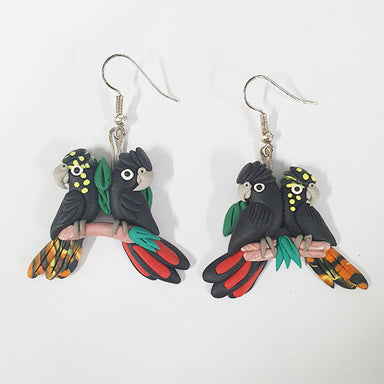 Earrings Black Cockatoo 2Pair