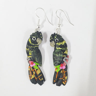 Earrings Black Cockatoo Female