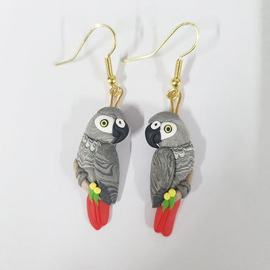 Earrings African Grey