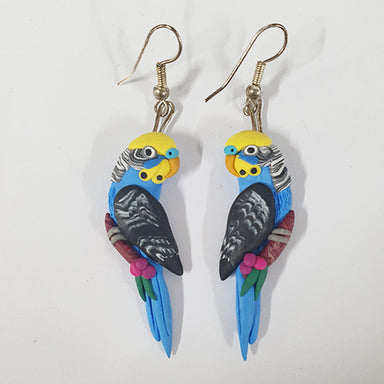 Earrings Budgie Blue/Yellow Face
