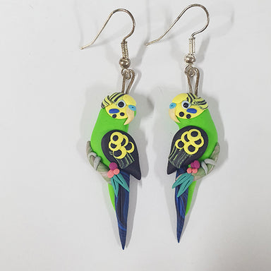 Earrings Budgie Green