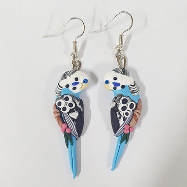 Earrings Budgie Blue