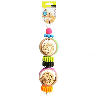 Bird Toy Rattan Balls With Plastic Disc 27cm