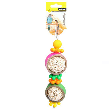 Bird Toy Rattan Balls&Plastic Beads 25cm