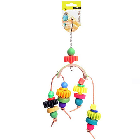 Bird Toy Arc With Plastic Disc&Beads 28cm