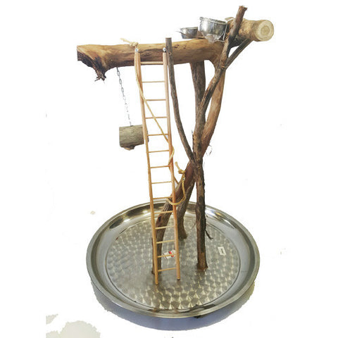 Natural Bird Stand With Stainless Steel Base 60cm
