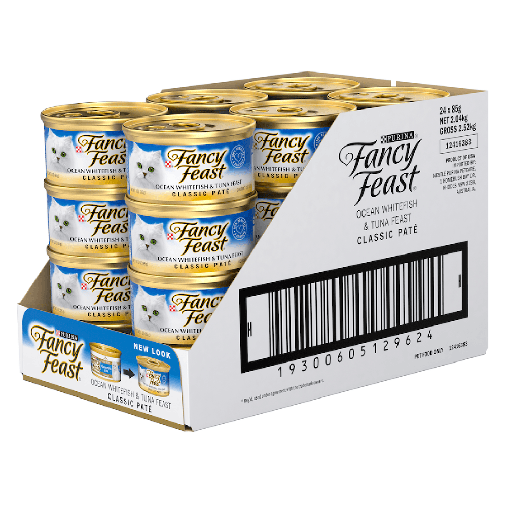 Fancy Feast Cat Food Ocean Whitefish & Tuna Classic Pate Can 85g x 24