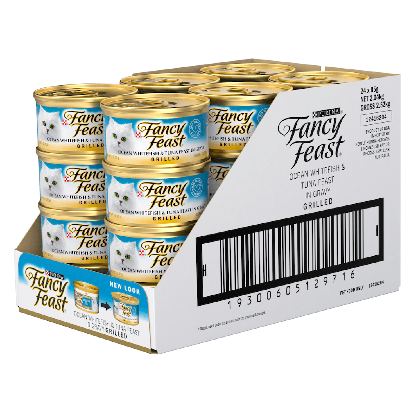 Fancy Feast Cat Food Can Adult Grilled Ocean Whitefish & Tuna in Gravy
