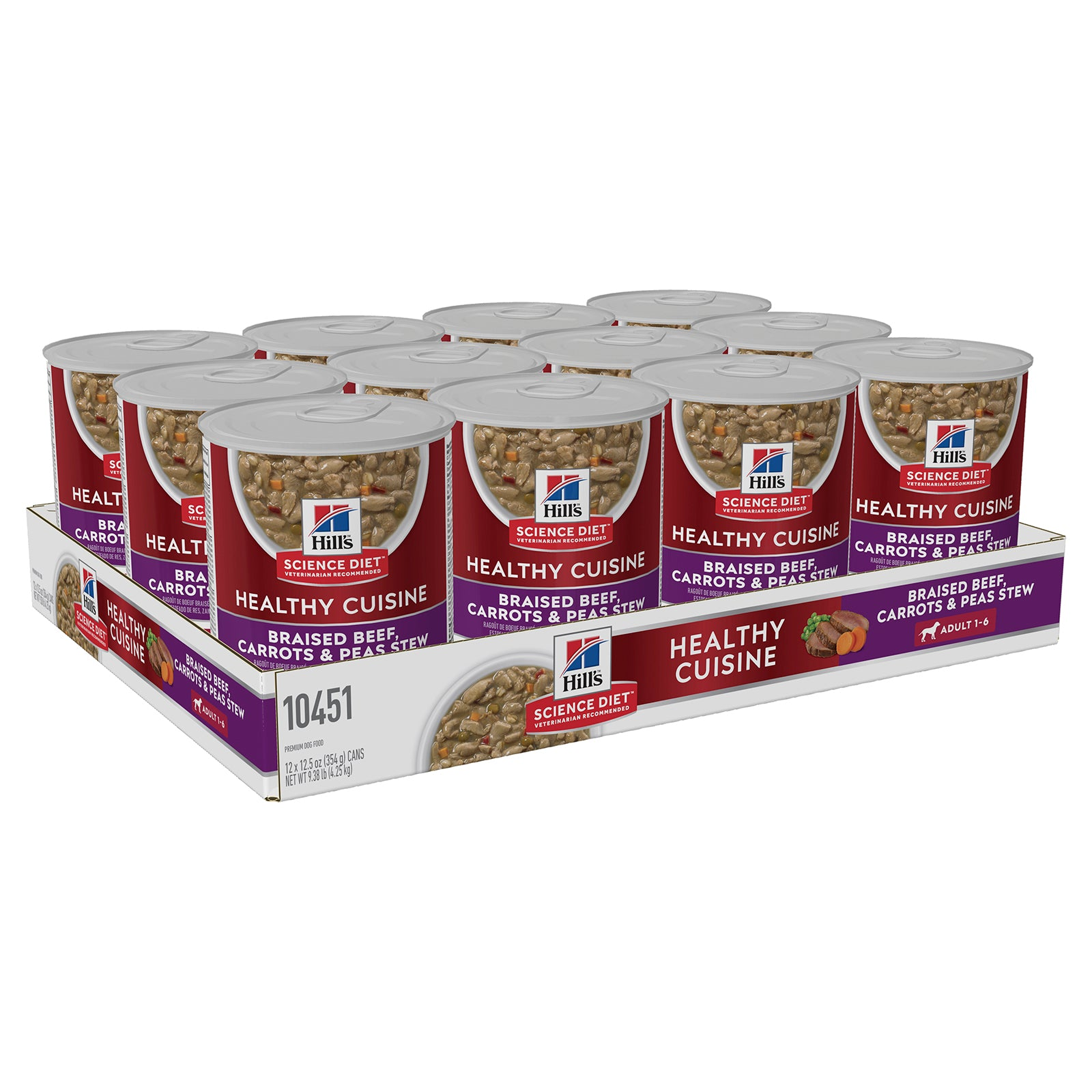 Hills Dog Food Can Adult Healthy Cuisine Braised Beef, Carrots & Peas Stew