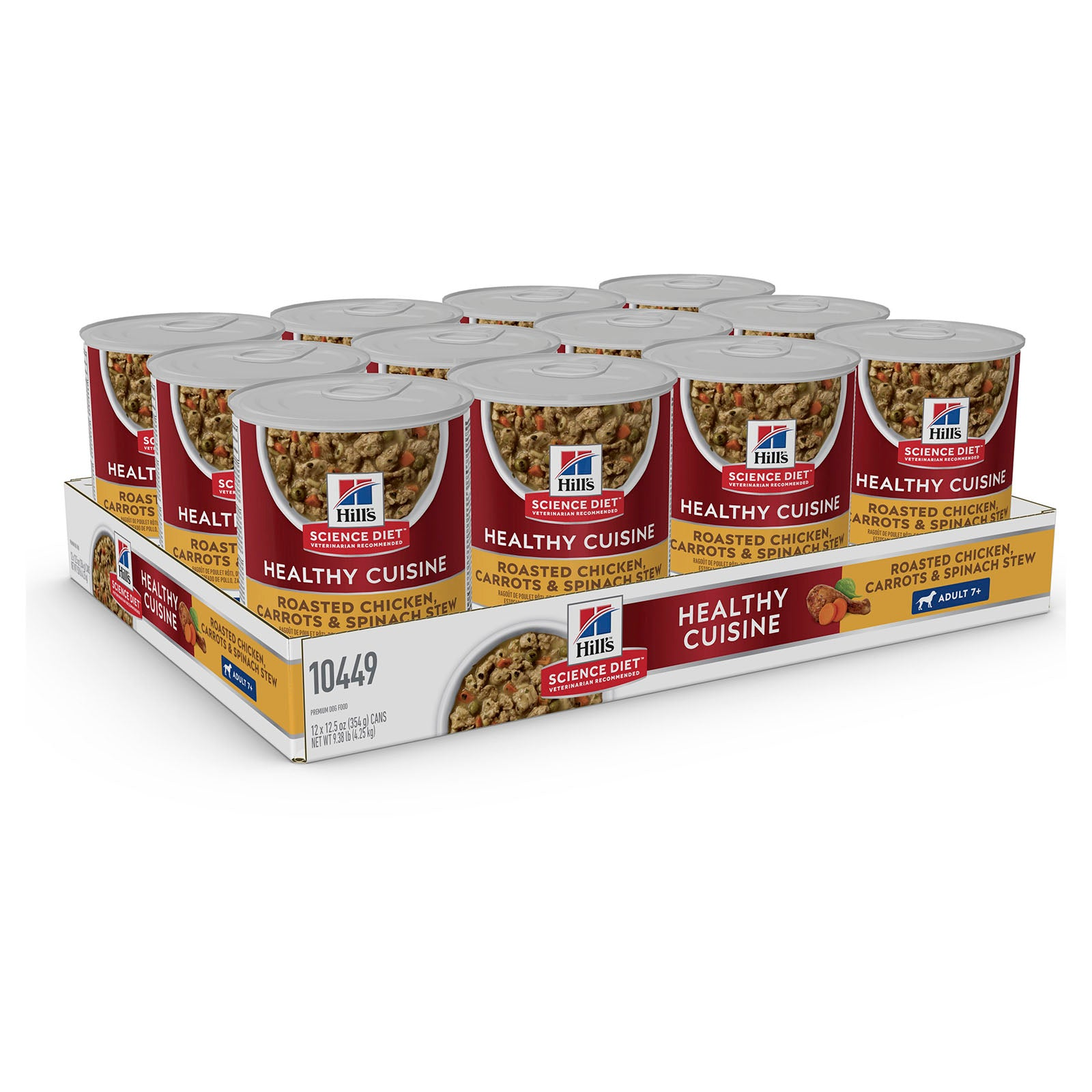 Hills Dog Food Can Adult 7+ Healthy Cuisine Roasted Chicken, Carrots & Spinach Stew