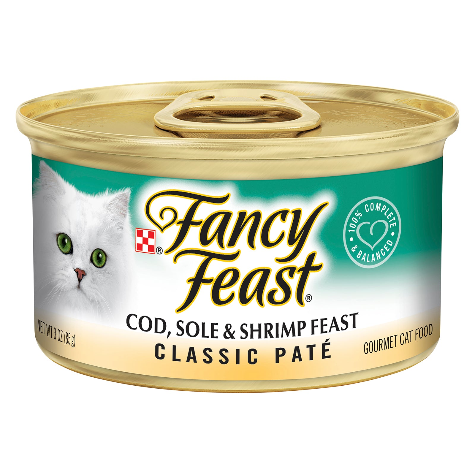 Fancy Feast Cat Food Can Adult Pate Cod, Sole & Shrimp Feast