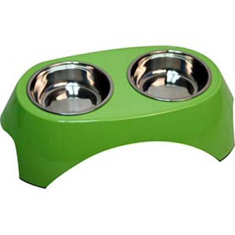 Double Melamine Dog Bowl 350ml Green