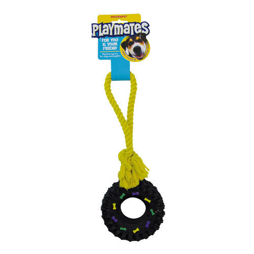 Yours Droolly Playmates Tyre Rope Dog Toy