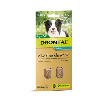 Drontal Chewable Worming Tablets For Medium Dogs 10Kg 2Pk