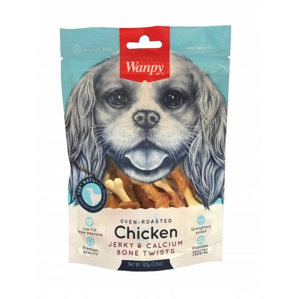Wanpy Chicken Jerky & Calcium Bone Twists Dog Treat