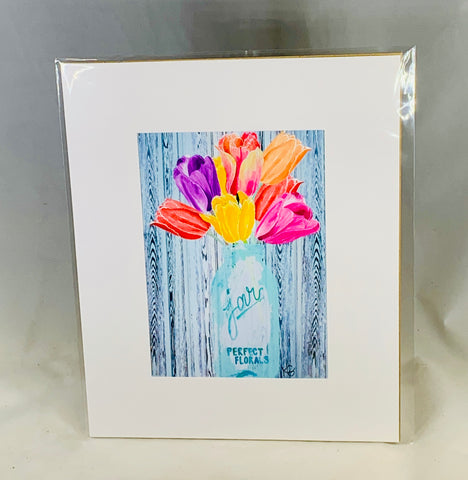 Tulips in jar Matted Print