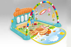 Huanger Piano Fitness Rack Movable Toys Gym Playing Baby Piano Mat With Hanging Cartoon Animals (HE0639)