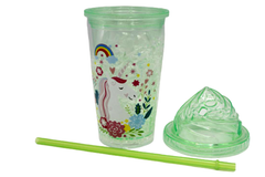 Unicorn Acrylic Cup With Lid Reusable Straw Tumbler Green (SF-9415)
