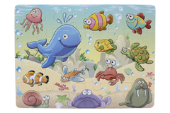 Wooden Sea Animals Puzzle Board (M-009)