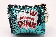 Princess Pink Sequin Pouch Keychain & Bag Hanging Green