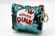 Load image into Gallery viewer, Princess Pink Sequin Pouch Keychain & Bag Hanging Green