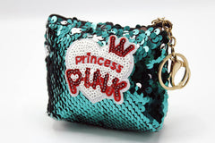 Princess Pink Sequin Pouch Key Chain & Bag Hanging Green
