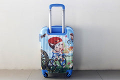 Boy Riding Bicycle 4 Wheels Children Kids Luggage Travel Bag / Suitcase