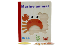 Wooden Marine Animal Book Puzzle (KC4041)