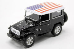 United States Flag Pull Back Die Cast Metal Model Car (M8598B)