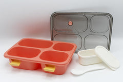Lunch Box Plain With Spoon And Container With Partition (XC-519)