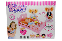 Baby Stuffed Doll Cradle With Makeup Accessories  (6128-1)