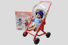 Baby Stuffed Doll With Stroller Toy (7121-1)
