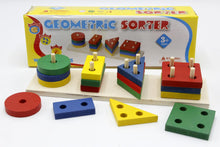 Load image into Gallery viewer, Wooden Shapes Geometric Sorter Stacking Toy (KC2837)