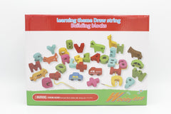 Wooden Learning Theme Draw String Building Blocks (KC3088)