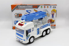Ladder & Crane Truck Blue With Light & Sound Toy (8030-3A)