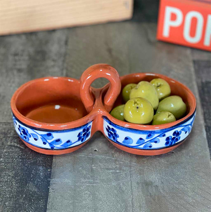Traditional Portuguese Clay Pottery Azulejo Olive Bowl