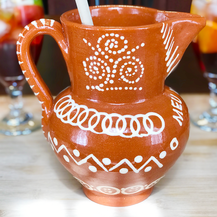 Traditional Portuguese Clay Pottery Sangria Pitcher