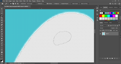 Using the magic wand in photoshop to find blurred edges and transparent pixels