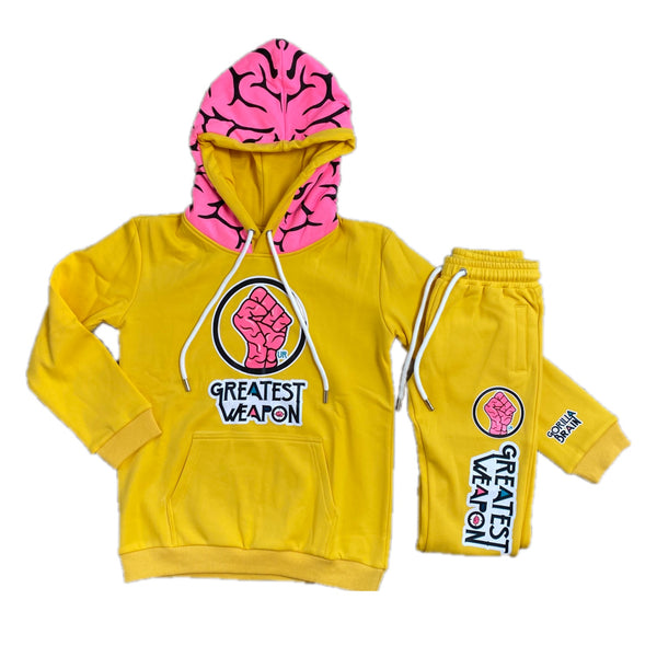 "Kids GOLD 99% ""Our Greatest Weapon"" Genius Brain Hoodie & Joggers Set"