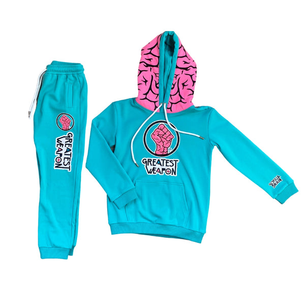 "Kids Blue ""Our Greatest Weapon"" Genius Brain Hoodie & Joggers Set"