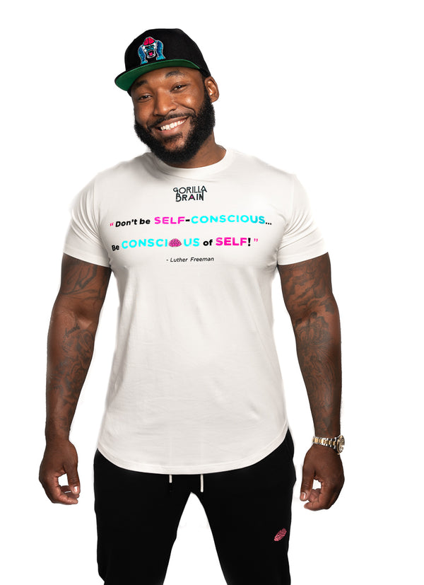"Don't Be Self Conscious ""Lutherism"" Designer Scoop Bottom Tall Tee"