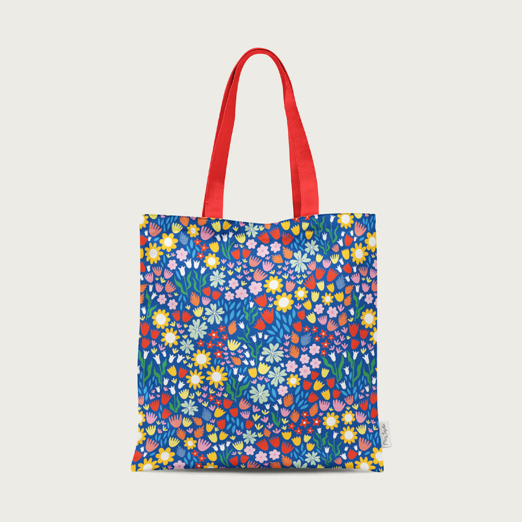 blue floral cotton tote bag