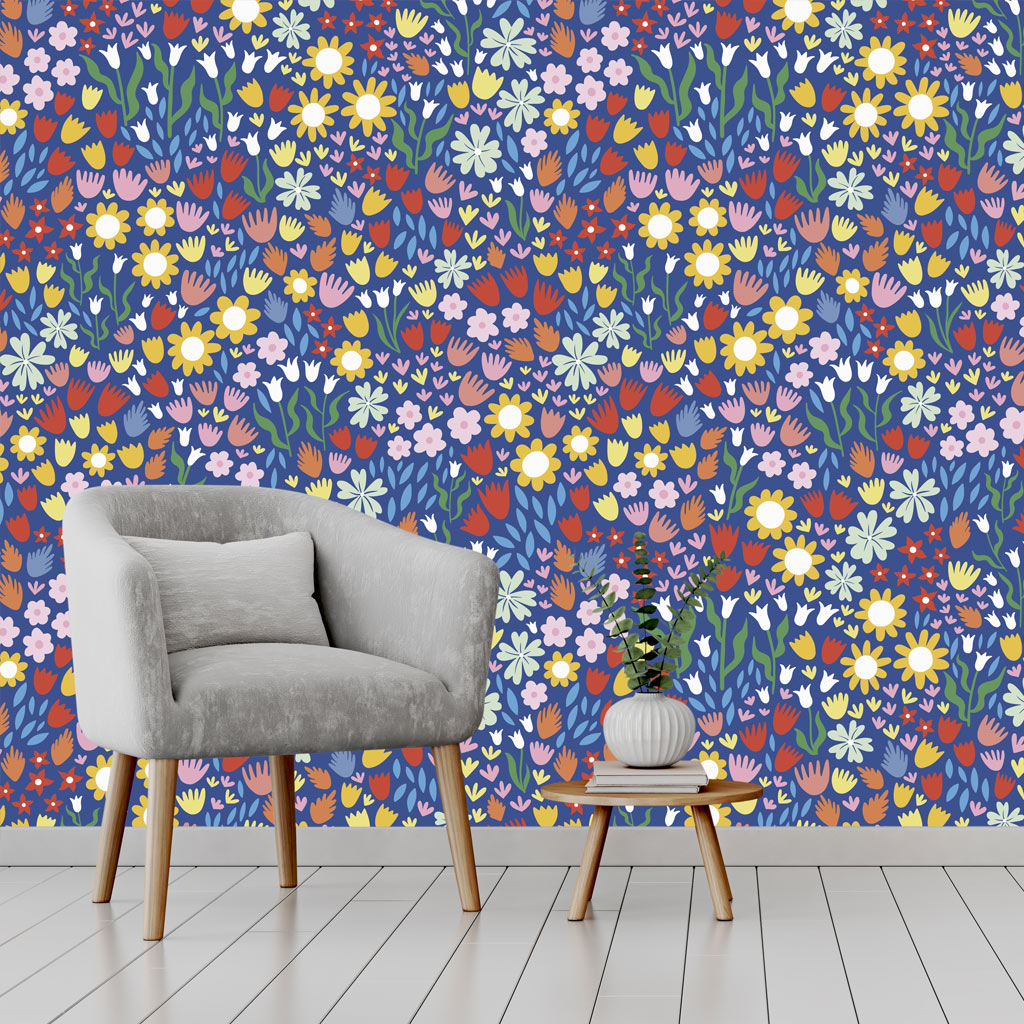 blue floral statement wallpaper
