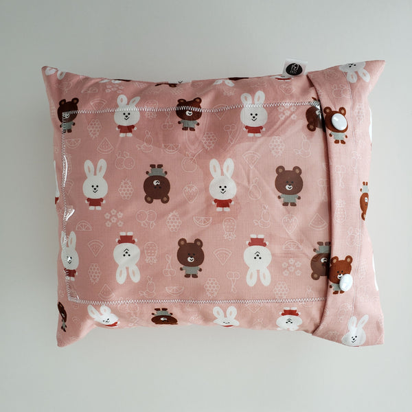 Coussin photo - Rose ours et lapins