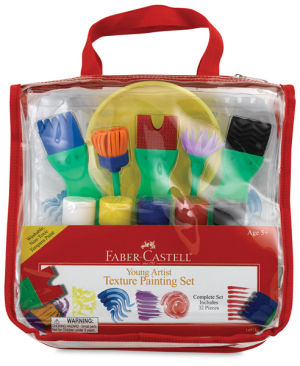 Faber-Castell Young Artist Texture Painting Set - Kids 12 Piece Paint Set - 5 Tempera Paints and Texture Paint Brushes
