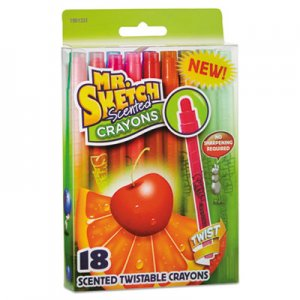 Mr. Sketch Scented Crayons, Twist, Assorted, 18/Pack