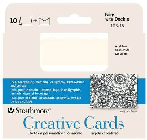 Strathmore Creative Cards Sheet Deckle Announcement Card, Ivory/Cream, 10PK 3 1/4 X 4 7/8