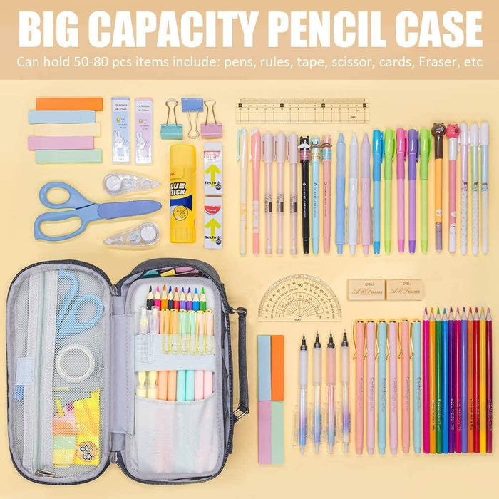 Big Capacity Pencil Case, Portable Pencil Pouch Storage Organizer